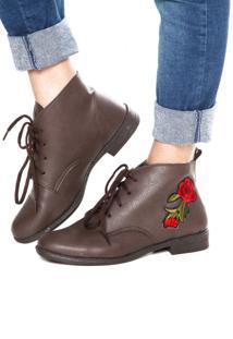 Bota Dafiti Shoes Bordado Marrom