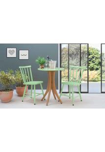 Mesa Bistrô Redonda E 2 Cadeiras Juliette - Jatobá E Verde Sálvia