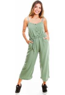 Macacão Pantacourt Verde Le Julie Feminino - Feminino-Verde