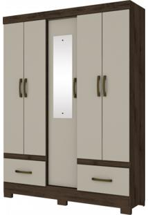 Guarda Roupa Briz B60 05 Portas 02 Gavetas Nature Off White