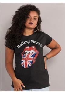 Camiseta Bandup The Rolling Stones Uk Flag Black - Feminino-Preto