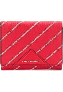Karl Lagerfeld Carteira De Couro Com Estampa De Logo Diagonal - Vermelho
