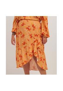 Saia Midi Floral Em Viscose Com Babado Curve E Plus Size Amarelo