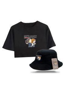 Kit Blusa Cropped Feminina Com Chapéu Bucket Personalizado Grey'S Anatomy - Preto