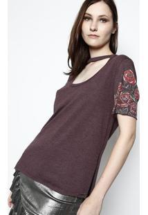 Camiseta Floral Com Recortes - Roxa & Vermelha - Tritriton