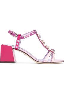 Dolce & Gabbana Sandália 'Keira' De Couro - Rosa