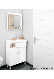 Gabinete Para Banheiro Kit Ks - Balcão + Espelheira + Marmorite - Branco Com Barrique