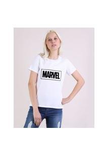 Blusa Feminina Marvel Manga Curta Decote Redondo Off White