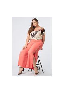 Calça Lisa Plus Size Pantalona Botões Coral