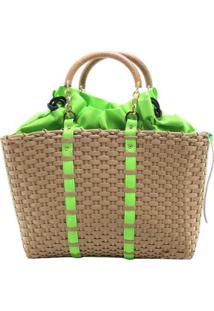 Bolsa Birô Shop Bag Detalhe Neon - Feminino-Verde