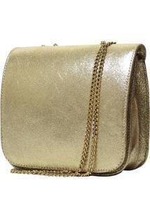 Bolsa Hendy Bag Dourada Couro Menor - Feminino-Dourado