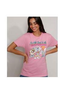 Camiseta Feminina Manga Curta Looney Tunes Decote Redondo Rosa