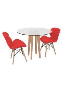 Conjunto Mesa De Jantar Em Vidro 90Cm Com Base Vértice + 2 Cadeiras Slim - Vermelho