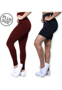 Kit Legging Bermuda Plus Size Heide Ribeiro Basic Suplex Academia Feminino - Feminino-Vinho+Preto