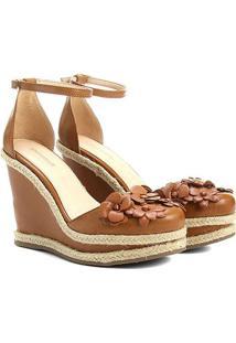 Espadrille Shoestock Anabela Flores Feminina - Feminino-Caramelo