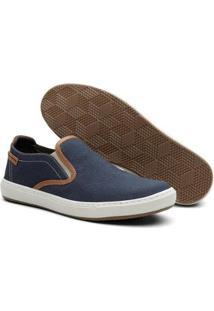 Slip On Iate Masculino Jeans Elástico Conforto Casual - Masculino-Azul Escuro