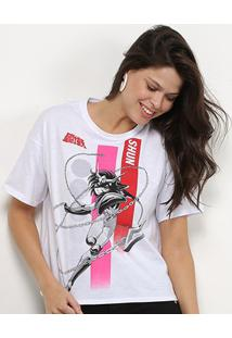 Camiseta Ellus 2Nd Floor Cavaleiros Do Zodíaco Shun Feminina - Feminino-Branco