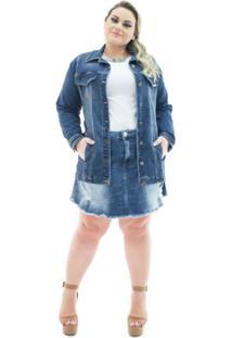 0f527b1254 ... Jaqueta Jeans Confidencial Extra Plus Size Over Alongada Feminina -  Feminino-Azul Escuro