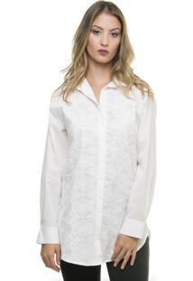 Camisa Pele Macia Com Bordado Off White