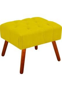 Puff Decorativo Anne Capitonê Suede Amarelo Pés Palito - D'Rossi