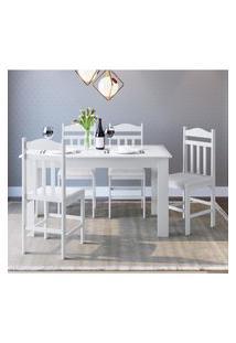 Conjunto Mesa Fixa Móveis Canção Com 4 Cadeiras Branca