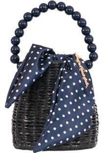 Bolsa Pequena Em Palha Azul E Tecido