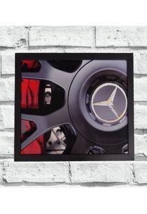 Quadro Decorativo Metal Roda Mercedes Bens Cor Preto 40X50X2