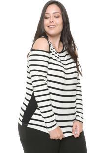 Blusa Lunender Mais Mulher Plus Off Shoulder Listrada Off-White/Preta