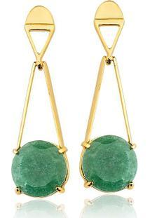Brinco Toque De Joia Triângulo Quartzo Verde - Feminino-Dourado