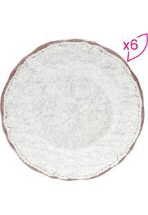 Jogo De Pratos Para Sobremesa- Branco & Marrom Clarorojemac