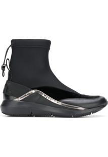 Karl Lagerfeld Ankle Boot Com Acabamento Elástico - Preto