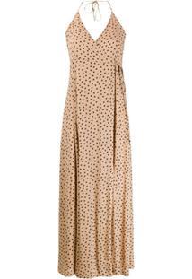 Ganni Vestido Estampado Com Alças Finas - Neutro