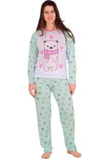 Pijama Vip Lingerie Inverno Calça Estampada Verde