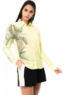 Camisa Moikana Com Fios De Brilho - Feminino-Verde