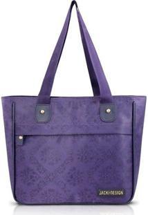 Bolsa Jack Design Shopper Damasco - Feminino-Roxo