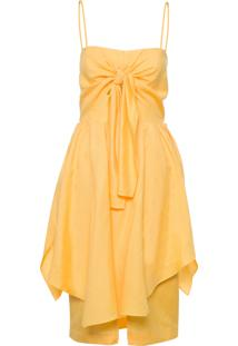 Vestido Laço Recorte - Amarelo