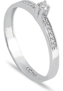 Anel Solitário Em Ouro Branco 18K Com Diamante 11 Pontos