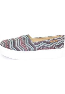 Tênis Slip On Quality Shoes Flatform Feminino - Feminino-Azul+Rosa
