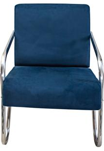 Poltrona Decorativa Azul Suede Braã§Os De Metal Gigante Mã³Veis - Azul - Dafiti