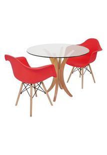 Conjunto Mesa De Jantar Tampo De Vidro 90Cm Com 2 Cadeiras Eiffel Com Braço - Vermelho