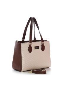 Bolsa Feminina Bicolor Santorini Handbag Marrom/Creme
