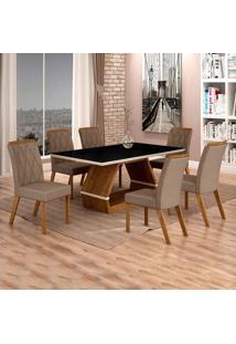 Conjunto De Mesa De Jantar Ii Com 6 Cadeira Esmeraldas Veludo Preto E Camurça