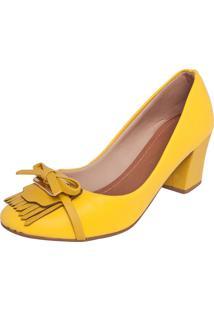 Scarpin Dafiti Shoes Laço Franjas Amarelo