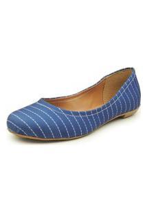 Sapatilha Feminina Reagar Clássica Azul Listrado Ref.:4100