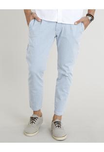 Calça De Sarja Masculina Chino Slim Cropped Listrada Azul Claro
