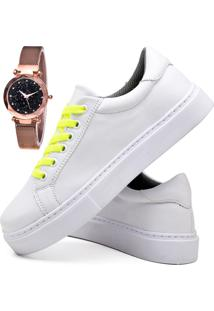 Tênis Sapatênis Casual Fashion Com Relógio Gold Feminino Dubuy 310El Branco - Kanui
