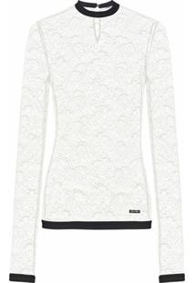 Miu Miu Blusa Translúcida Mangas Longas Com Renda Floral - Branco