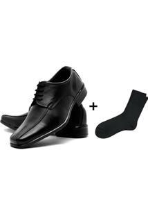 Sapato Social Masculino Couro De Amarrar Fox Shoes + Meia - Masculino-Preto