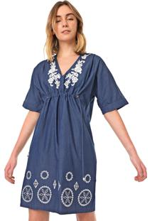 Vestido Desigual Curto Electra Azul - Azul - Feminino - Algodã£O - Dafiti