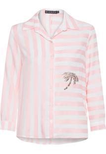 ... Camisa Feminina Invertida Listrada - Rosa 51174cea8810a